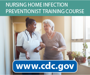 Nursing home infection prevention training course graphic.