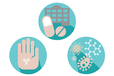 Vector image of three illustrated circles One with pills in front of a hospital, another shows a hand with a symbol of germs, and the last, a cluster of random pathogens
