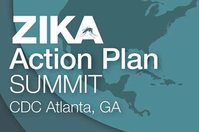 "A graphical background of a cyan-colored globe behind the words: ""Zika Action Plan Summit – CDC Atlanta, GA"""