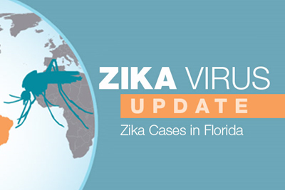 image with an illustration of a mosquito with the words - Zika Virus Update: Zika cases in Florida
