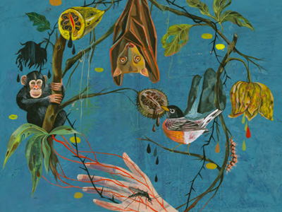 A painting showing a hand being bitten by an insect, a monkey, fruit, a bat hanging upside down, a flower and a bird eating another piece of fruit. All of these are connected by a tree branch in the shape of a circle.