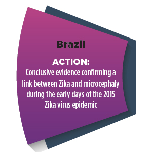 Section of a wheel with words - Brazil ACTION: Conclusive evidence confirming a link between Zika and microcephaly during the early days of the 2015 Zika virus epidemic