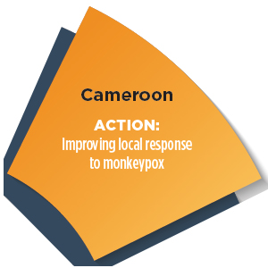 Section of a wheel with words - Cameroon ACTION: Improving local response to monkeypox
