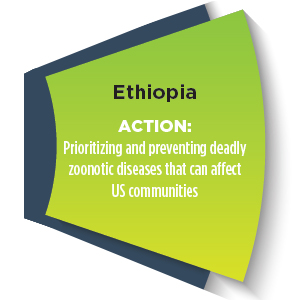 Section of a wheel with words - Ethiopia ACTION: Prioritizing and preventing deadly zoonotic diseases that can affect US communities
