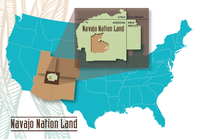 map of U.S. with a highlight of a section of Arizona with the label Navajo Nation Land