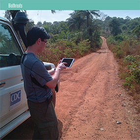 Cdc expert on a tablet application for a outbreak area