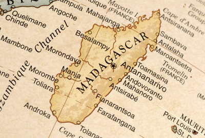 Image of an aged map of the island nation of Madagascar
