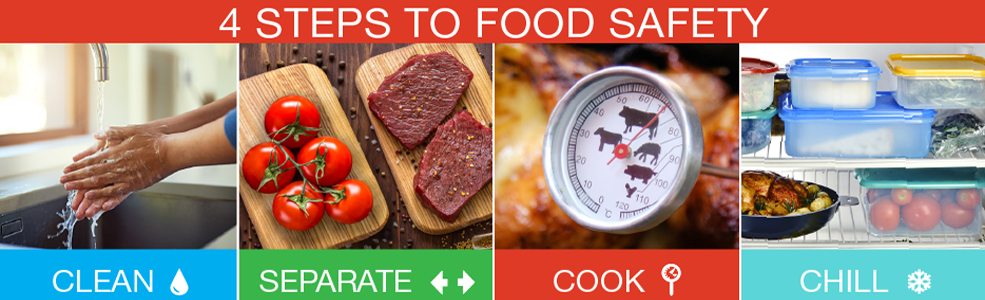 4 steps to food safety banner - clean, separate, cook, chill
