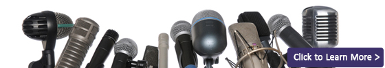 header image for In the News - A bank of microphones