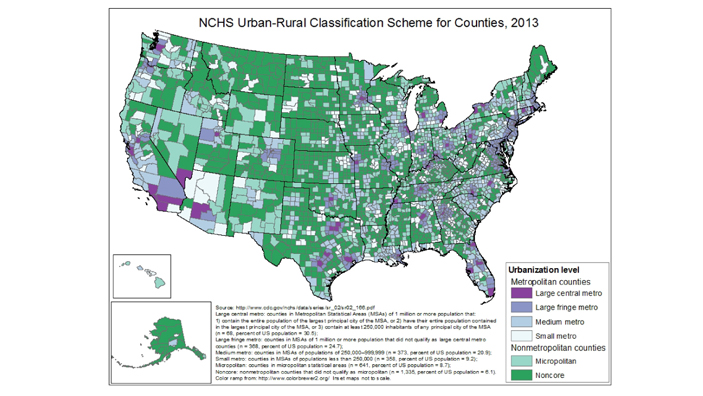 NCHS Urban-Rural Classification Scheme for Counties, 2013This scheme uses 2010 census population numbers and OMB standards for defining metropolitan statistical areas. 4 metro & 2 non-metro areas are produced by NCHS. The largest MSAs are separated into two groups, large central and fringe metro; NCHS says fringe metro may be very important in health status