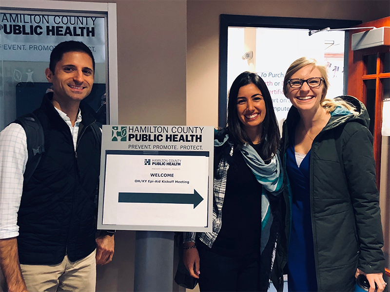 Nicholas Deputy (DASH EISO 2018; left), Samira Sami (DHAP EISO 2018; center), and Erin Blau (Kentucky EISO 2018; right) participate in an Epi-Aid kick-off meeting in the Cincinnati-metro area, 2018