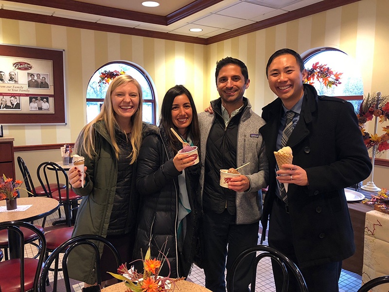 Erin Blau (Kentucky EISO 2018; left), Samira Sami (DHAP EISO 2018; second from left), Nicholas Deputy (DASH EISO 2018; second from right), and Nathan Furukawa (DHAP EISO 2018; right) take a break for ice cream after presenting findings to local partners during an Epi-Aid in the Cincinnati-metro area, 2018