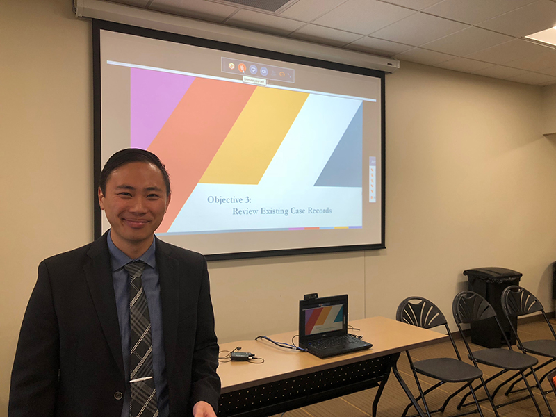 Nathan Furukawa (DHAP EISO 2018) presents findings to local partners during an Epi-Aid in the Cincinnati-metro area, 2018