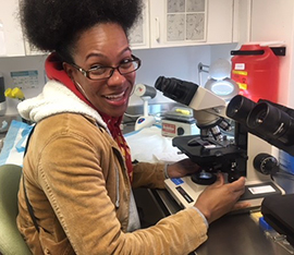 Erica Dawson (DHAP, EIS 2016) visits a lab at an STD clinic during an epi-aid to expand access to post-exposure prophylaxis, New York City, 2017 (photo courtesy of Molly Evans)