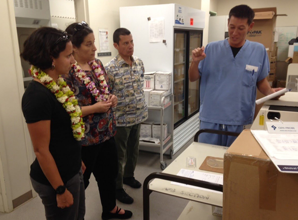 Laura Quilter (DSTDP, EIS 2017) (far left) learning about the surveillance of antimicrobial resistant gonorrhea on a site visit in Hawaii, (photo courtesy of Laura Quilter).