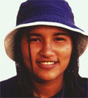 Young American Indian wearing a hat