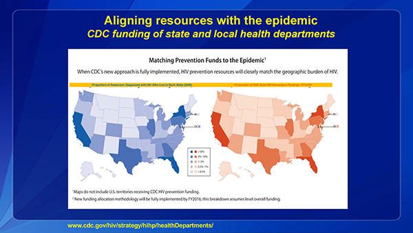 CDC aligned resources so that the amount of  funding matched the burden of disease.
