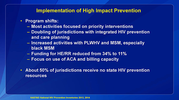Implementation of High Impact Prevention