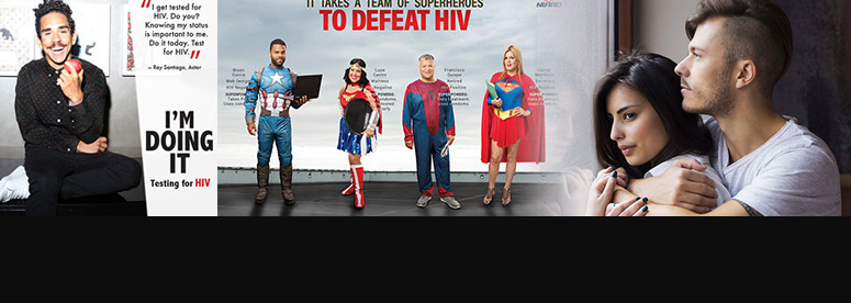 Man hugging woman from behind; I'm Doing It - Ray Santiago's story; It Takes a Team of Superheroes to Defeat HIV; It Takes a Team of Superheroes to Defeat HIV