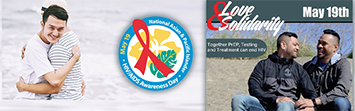 National Asian & Pacific Islander HIV/AIDS Awareness Day May 19; Two men hugging on the beach; API Gay couple