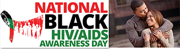 National Black HIV/AIDS Awareness logo with Man hugging woman