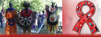 NNHAAD logo and Native people dressed in traditional clothing observing National Native HIV/AIDS Awareness Day