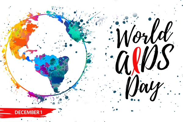 World AIDS Day, December 1. Abstract image of planet with vibrant colors.