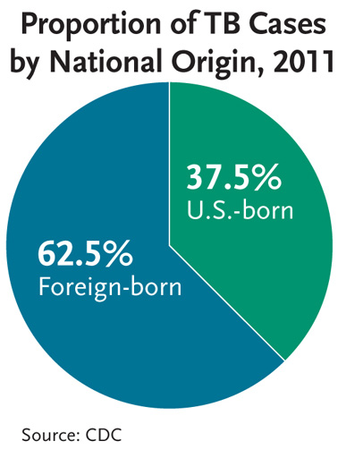 This pie chart shows the proportion of TB cases by national origin for 2011. 62.5 percent of TB cases occurred among foreign-born individuals, while 37.5 percent of TB cases occurred among US-born individuals. In fact, the TB rate among foreign-born persons (17.3/100,000) was 12 times higher than among U.S.-born persons (1.5).