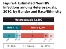 This chart shows the estimated number of new HIV infections among heterosexuals by gender and race/ethnicity, 2010. There were a total of 12,100 new infections among heterosexuals, with 4,100 infections among males and 8,000 among females. Among males, black males accounted for 2,700 new infections, followed by Hispanic males (780) and white males (620). Among females, black females accounted for 5,300 new infections, followed by Hispanic females (1,200) and white females (1,300).