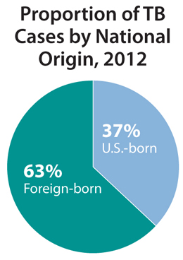 This pie chart shows the proportion of reported TB cases in the United States broken down by national origin in 2012. The proportion of TB cases among foreign-born persons was 63% and 37% among U.S.-born persons.
