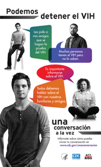 Thumbnail of a Spanish poster, Podemos detener el VIH, showing four friends/peers with bubbles messages about how they talk about HIV.