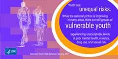 This graphic depicts a finding from the 2017 Youth Risk Behavior Surveillance: Youth face unequal risks. While the national picture is improving in many areas, there are still groups of vulnerable youth experiencing unacceptable levels of poor mental health, violence, drug use and sexual risk.""