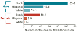 This bar chart shows the estimated rates of new HIV infections in 2010 by race/ethnicity and gender. It shows that African American men and women are disproportionately affected. Among men, there were: 103.6 new infections per 100,000 black men; 45.5 new infections per 100,000 Hispanic men; and 15.8 new infections per 100,000 white men. Among women, there were: 38.1 new infections per 100,000 black women; 8.0 new infections per 100,000 Hispanic women; and 1.9 new infections per 100,000 white women.