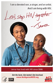 Let's Stop HIV Together. Jamar. Photo of Jamar and his mother, with their arms around each other and smiling.