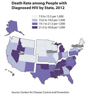 U.S. map showing death rate among people with diagnosed HIV by state, 2012.