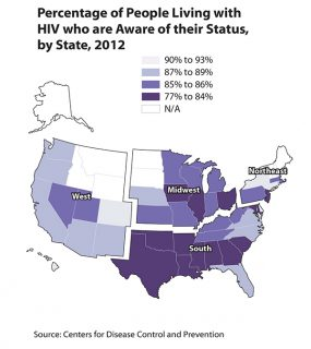 U.S. map showing percentage of people living with HIV who are aware of their status by state, 2012.