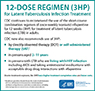 This graphic is summarizes CDC's updated recommendations for the use of the short-course combination regimen of once-weekly isoniazid-rifapentine for 12 weeks (3HP) for treatment of latent tuberculosis (TB) infection. The updated recommendations include the use of 3HP: 1)In children and adolescents, 2-11 years old 2) In persons with latent TB infection who are living with HIV/AIDS and taking antiretroviral medications with acceptable drug interactions with rifapentine, and 3) by directly observed therapy or self-administered therapy in persons over 2 years of age.