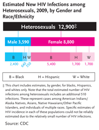 Estimated New HIV Infections among Heterosexuals, 2009, by Gender and Race/Ethnicity: This graph shows that in the US in 2009, an estimated 12,900 new HIV infections occurred among heterosexuals. 3,590 of those were among males and 8,800 among females. Among males by race/ethnicity, 2,400 were among blacks, 640 were among Hispanics and 550 were among whites. Among females by race/ethnicity, 5,400 were among blacks, 1,700 were among Hispanics and 1,700 were among whites. (Note: This chart includes estimates, by gender, for blacks, Hispanics and whites only. Note that the total estimated numbers of HIV infections among heterosexuals includes an additional 510 infections. These represent cases among American Indians/Alaska Natives, Asians, Native Hawaiians/Other Pacific Islanders, and individuals of multiple races. Specific estimates of HIV incidence in each of these populations could not be reliably estimated due to the relatively small number of HIV infections.)