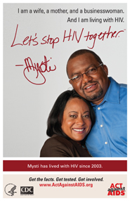 Let's Stop HIV Together. Mysti. Photo of Mysti with her husband, with their arms around each other and smiling.
