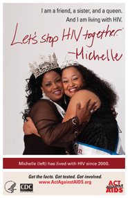 Let's Stop HIV Together. Michelle. Photo of Michelle and her friend hugging each other, smiling.