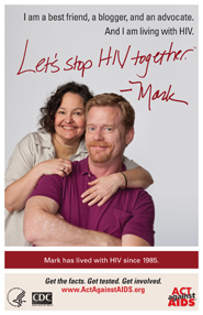 Let's Stop HIV Together. Mark. Photo of Mark with his friend, with her arms around him. Both are smiling.