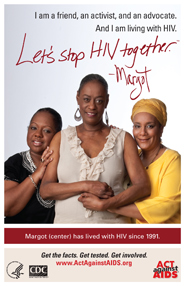 Let's Stop HIV Together. Margot. Photo of Margot with her two friends, with their arms around each other and smiling.