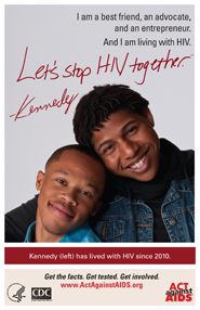 Let's Stop HIV Together. Kennedy. Photo of Kennedy with his friend, standing behind with his arms around Kennedy. Both are smiling.