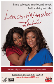 Let's Stop HIV Together. Barbara. Photo of Barbara with her colleague and friend, with her arms on Barbara. Both are smiling.