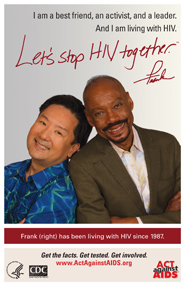 Let's Stop HIV Together. Frank. Photo of Frank, right, leaning back-to-back with friend. Both are smiling.
