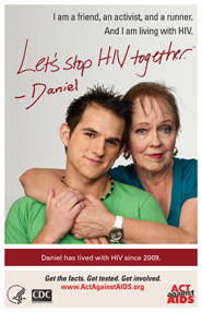 Let's Stop HIV Together. Daniel. Photo of Daniel with his friend, with their arms around each other and smiling.