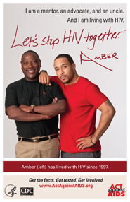 Let's Stop HIV Together. Amber. Photo of Amber and his friend, standing side-by-side, smiling.