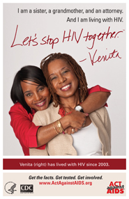 Let's Stop HIV Together. Venita. Photo of Venita and her sister, standing behind Venita with her arms around Venita. Both are smiling.