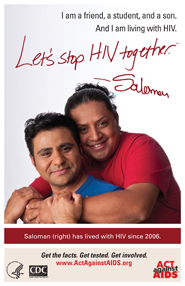 Let's Stop HIV Together. Saloman. Photo of Saloman with his arms around his partner, smiling.