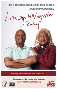 Let's Stop HIV Together. Photo of Rodney and his pastor. The pastor has her arms around Rodney and he is smiling.